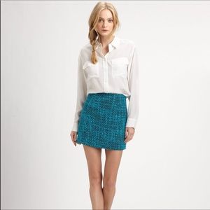 Teal Tweed Skirt